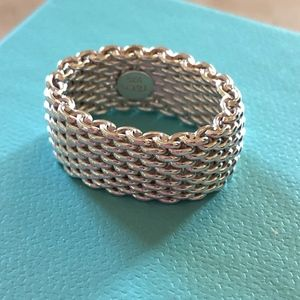 Tiffany & Co Sterling Silver Mesh Ring Size 6